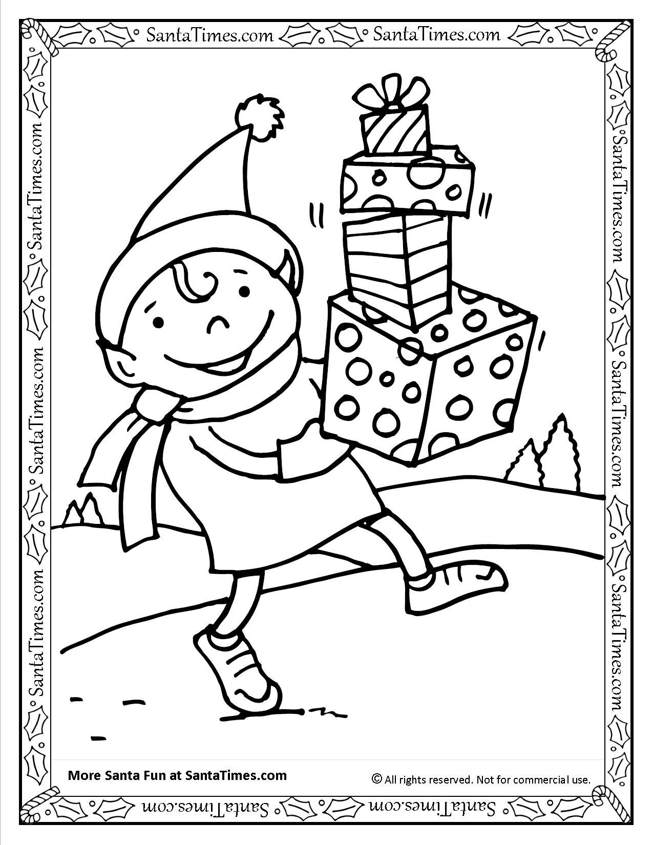 Santa's Elf Printable Coloring Page